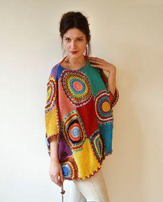 Sweater Vest féminines surdimensionné  Crochet fils par subrosa123