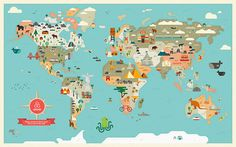 Vintage world map printable map print instant digital download an illustrated world map printed for an airbnb in collaboration with agnes lee gumiabroncs Images