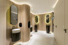 Washroom Design, Public Hotel, Interior Architecture, Interior Design, Public Bathrooms, Indirect Lighting, Toilet Cleaning, Wood Texture, Relax
