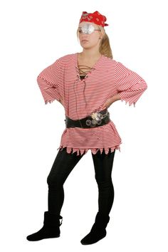 could be pirate- I have that wht shirt with puffy sleeves... bandana/ those comfy boots easy adult pirate costume.