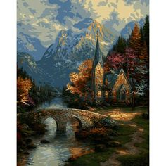 "Thomas Kinkade Paint By Number Kits 16""X20""-The Mountain Chapel"