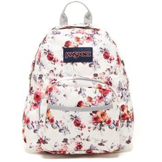 JANSPORT Half Pint Mini Backpack ($25) ❤ liked on Polyvore featuring bags, backpacks, floral mem, white backpack, mini floral backpack, floral rucksack, floral backpack and backpack bags