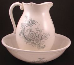 Ironstone Wash Bowl and Pitcher Set. Pitcher 11h. Bowl 4 1/2h x 14 1/4diameter.