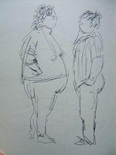 DAYTIME Folks Talking, SF area in 90's, sketch by Dorothy Messenger, copy of original, 8x11 plain cardstock