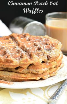 Delicious cinnamon peach oat waffles that are made with old fashioned oats. Soft on the inside, crunchy on the outside, and loaded with peaches and cinnamon.