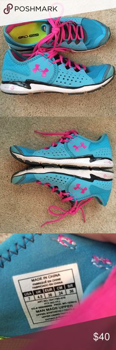 Size 7 Under Armour running shoes Super cute cotton candy colored tennis shoe. Very light. Almost perfect condition. Under Armour Shoes Sneakers