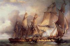 """'Combat de la corvette française la """"Bayonnaise"""" contre la frégate anglaise """"l'Ambuscade"""", 14 décembre 1798', by Louis-Philippe Crépin."""
