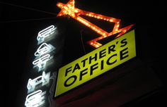 father's office - OOOh the burger!