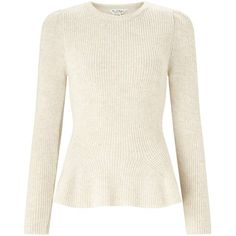 Miss Selfridge Cream Puff Shoulder Peplum Knitted Jumper ($60) ❤ liked on Polyvore featuring tops, sweaters, cream, white puff sleeve top, white peplum top, white sweater, peplum jumper and white top