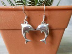 Cool Aquatic Marine Swimming Dolphin Drop Earrings In 3D Shiny Sterling Silver & Ear Hook,Animal Drop Earrings,Pierced Earring,Gifts For Her by Supsilver on Etsy