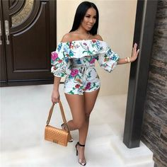 HAOYUAN Ruffle Off Shoulder Sexy Playsuit Backless Summer Body Femme Boho Beach Overalls Bodycon Shorts Rompers Women Jumpsuit Look Fashion, Fashion Outfits, Womens Fashion, Fashion Tips, Ladies Fashion, Feminine Fashion, Fashion Night, 50 Fashion, White Fashion