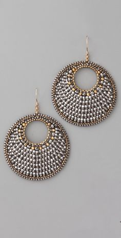 Miguel Ases Pyrite Quartz Circle Earrings