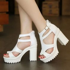 Fashion NEW Chunky High Heels Pumps Strappy Zip Back Sandals Shoes White UK5