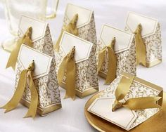 Wholesale 100pcs Golden Wedding Favor Candy Boxes Gold Ribbon banquet Party Box | eBay