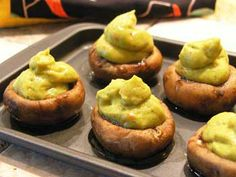Browned Mushrooms Stuffed with Avocado and Red Pepper Mousse #Recipe   Carefree Cooking Magazine