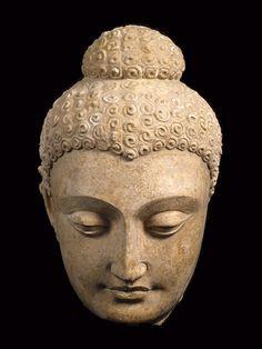 Gandhara Stucco Head of a Buddha - LO.605 Origin: Afghanistan Circa: 300 AD to 500 AD