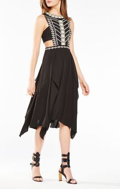 Adelia Sequined Embroidered Cutout Dress