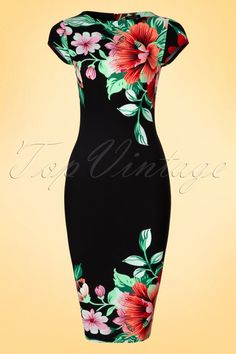 This colourful60s Aloha Tropical Garden Short Sleeves Pencil Dress is not for wall flowers!  Whether the sun shines or not, the bright colours will brighten up your day! The tropical flower print pops out even more due to the classic cutof this retro wiggle with cap sleeves and high round neckline.Made from a structured black fabric with a light stretch that hugs your curves in all the right ways.Aloha pretty mama!   High round neckline Cap sl...