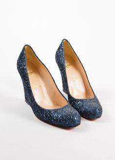 da11b098eedb Women s Sparkly Royal Blue Glitter wedge Heels wedding bride prom shoes  Personalized -GLITTER SHOE CO