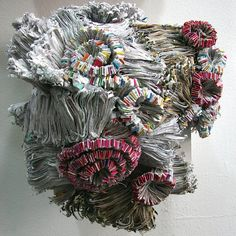 Jaynie Crimmins, paper sculptures made from household mail and hand sewn together