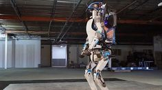A new version of Atlas, designed by Boston dynamics can operate outdoors and inside buildings. It is electrically powered and hydraulically actuated.