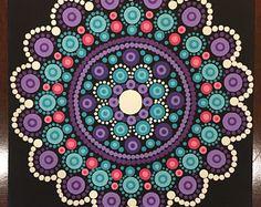 Handmade 5x5-inch Dot Mandala on Canvas, Dotilism, Dot Painting, Mandala, Wall Art