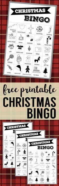 Free Christmas Bingo Printable Cards. Christmas bingo holiday game for a Christmas party or classroom party activity. Christmas bingo boards. #papertraildesign #christmasbingo #christmasgames #christmaspartygames