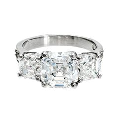 Asscher Cut Three Stone Diamond Platinum Ring | From a unique collection of vintage three-stone rings at http://www.1stdibs.com/jewelry/rings/three-stone-rings/