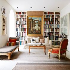 Get inspired with our collection of hundreds of stylish living room images + Safe to say that a library is a must? Living Room Images, Living Room Art, Living Room Designs, Living Spaces, Alcove Bookshelves, Library Bookshelves, Bookshelf Ideas, Book Shelves, Bookcases