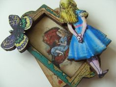 Alice in Wonderland brooch wood drink me playing by NewellsJewels