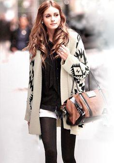 Beige Geometric Irregular Long Sleeve Cardigan