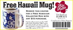 Hilo Hattie Mug Day Wishes, Heaven On Earth, Singles Day, Maui, Compliments, Coupons, Heart, Coupon, Hearts