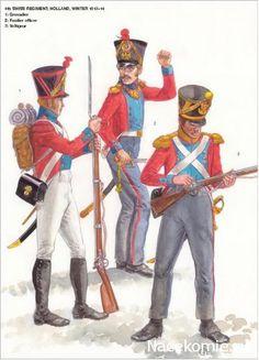 Swiss; 4th Infantry Regiment in Holland, winter 1813-14, Grenadier, Fusilier Officer & Voltigeur.