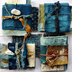 The ties are a nice idea to tie everything together Artist - Elizabeth Bunsen Handmade Journals, Handmade Books, Handmade Notebook, Handmade Rugs, Handmade Crafts, Textile Fiber Art, Textile Artists, Altered Books, Altered Art