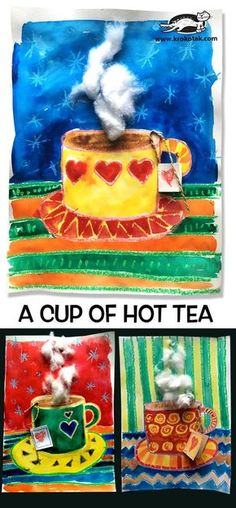 A cup of hot tea - Winter - Kunst Classroom Art Projects, School Art Projects, Art Classroom, Art School, Winter Art Projects, Winter Crafts For Kids, Kids Crafts, Art For Kids, Tee Kunst