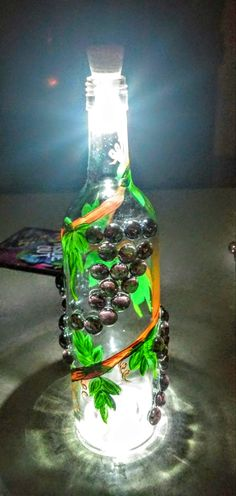 Rechargeable wine bottle lamp by Miss Millies Creations