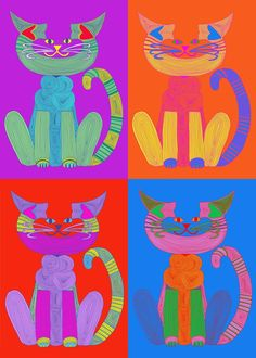 Cat Art Prints- Andy Warhol C-Cat by beckyzimm