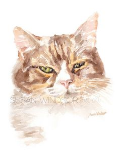 Calico Cat watercolor giclée reproduction. Portrait/vertical orientation. Printed on fine art paper using archival pigment inks. This quality printing allows over 100 years of vivid color in a typical
