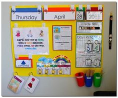 Mama Jenn: Calendar Time - Love the hooks & rings..kiddos will love manipulating this calendar!
