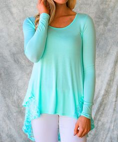 Another great find on #zulily! Mint Taylor Lace-Trim Tunic - Women by Sawyer Cove #zulilyfinds