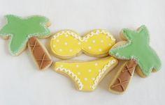 bikini and palm tree, summer cookies. so cute!