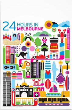 24 Hours in Melbourne, Australia travel poster art Flight Magazine, Melbourne Trip, Melbourne Australia, Australia Travel, Melbourne Winter, Australia Hotels, Illustrated Maps, Sydney, Melbourne Victoria