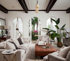 Living room. Natural lighting. Wood beams