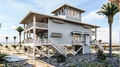 Blue Wave Beach House - Coastal Home Plans Small Beach Houses, Beautiful Beach Houses, Dream Beach Houses, Beach House Floor Plans, Coastal House Plans, Coastal Homes, Beach Homes, Coastal Bedrooms, House On Stilts
