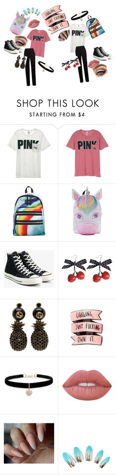 """Untitled #22"" by clockwork201 on Polyvore featuring Victoria's Secret, Victoria's Secret PINK, Marc Jacobs, Converse, Gucci, Betsey Johnson and Lime Crime"