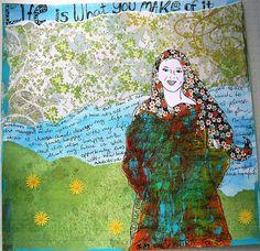 Scrapbook layout meets art journal page