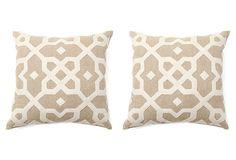 S/2 Tile 18x18 Cotton Pillows, Natural on OneKingsLane.com