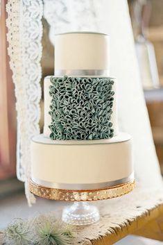 30 Sage Green Wedding Ideas ❤️ sage green wedding cake white decorated with ruffles erica obrien cake design #weddingforward #wedding #bride #sagegreenwedding