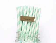 Mint Green Paper Straws, 100 Mint paper straws, Wedding, Baby Shower, Birthday Party, Made in USA, Decorations, Favors, Paper Goods