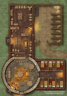 Tavern Map by jasonjuta - - - Baustil Dungeons And Dragons Homebrew, D&d Dungeons And Dragons, Rpg Wallpaper, Fantasy City Map, Pathfinder Maps, Building Map, Building Games, Rpg Map, Map Layout